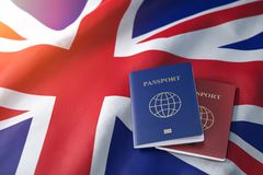 Passports on the flag of the Australia. Getting a visa to Australia , travel, naturalization and immigration concept stock images