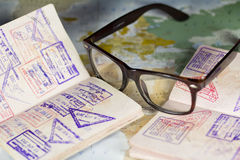 Passports,glasses,map Stock Photography