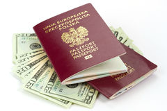 Passports and money for holidays Royalty Free Stock Photography