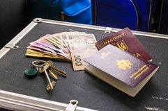 Passports and Money Ready for Travel Stock Photos