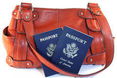 Passports with orange purse Royalty Free Stock Photography