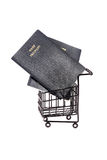 Passports and shopping cart Royalty Free Stock Images