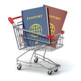 Passports in shopping cart. Paperwork to emigrate. Royalty Free Stock Image