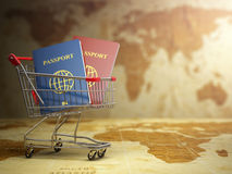 Passports in shopping cart. Paperwork to emigrate. Stock Photos