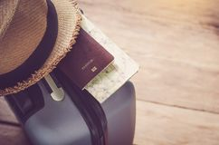 Passports and suitcases to prepare for the trip. Royalty Free Stock Images