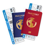 Passports Tickets Air Travel Realistic  Composition. Two passports with boarding passes tickets realistic set  international air travel agency advertisement Stock Photography