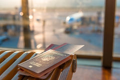 Passports and tickets Royalty Free Stock Images