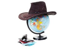 Passports, tickets, globe of the world as a vacation concept. Summer journey preparation. Planning holidays, checking documents, c Stock Photo