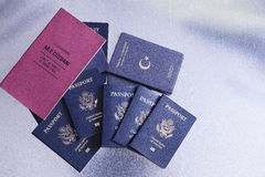 Passports of a tour group going on a vacation Stock Photo