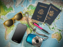 Passports and travel accessories Royalty Free Stock Photos