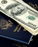 Passports and us dollars Stock Images