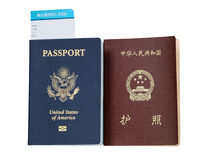 Passports from USA and China Stock Photography