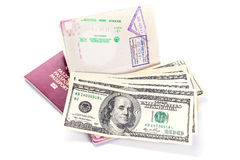 Passports and money ready for travel Royalty Free Stock Photo