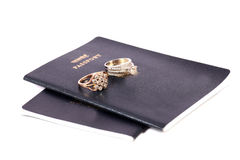 Passports and wedding rings Royalty Free Stock Photo
