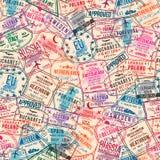 PassSichtvermerke, nahtloses Muster International- und Einwanderungsbehördestempel Reisendes Konzept lizenzfreie abbildung