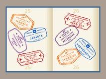 Passstämplar stock illustrationer