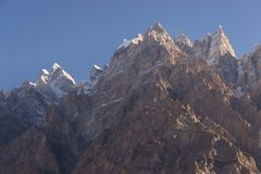 Passu大教堂山峰在一个早晨,基尔吉特Baltistan, Pa 免版税库存照片