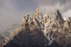Passu大教堂山峰,基尔吉特Baltistan,巴基斯坦 免版税库存图片
