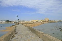 Passway to Castle of San Sebastian in Cadiz royalty free stock photo