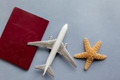 Password with aeroplane and sea star on blue background royalty free stock images