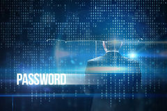 Password against blue technology interface with binary code Stock Photography