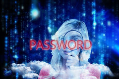 Password against lines of blue blurred letters falling Royalty Free Stock Images