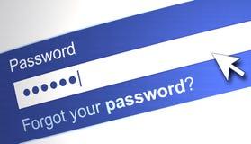 Password Box. Blue, White Word Stock Image