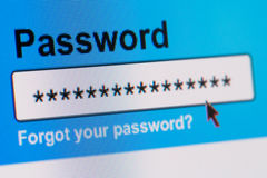 Password Box in Internet Browser Royalty Free Stock Photography