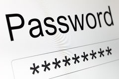 Password Box on LCD screen Royalty Free Stock Photography