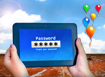 Password box. Tablet and ballon with sky blue Stock Photography