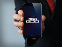 Password businessman smartphone Stock Photo