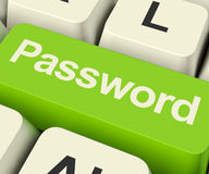 Password Computer Key In Green Showing Permission And Security Royalty Free Stock Photo