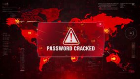 Password cracked alert warning attack on screen world map. stock illustration