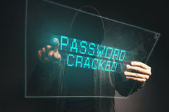 Password cracked, unrecognizable computer hacker stealing p Royalty Free Stock Image