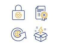 Password encryption, World globe and Reject certificate icons set. Creative idea sign. Vector vector illustration