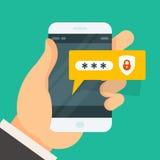 Password entering on smartphone - login Royalty Free Stock Photo