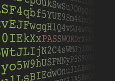 Password extraction from a background made of alphanumeric  Stock Images