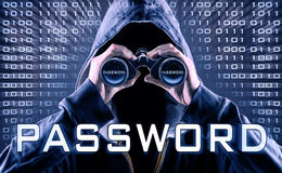 Password. Faceless man with a spyglass is looking for a password Stock Image