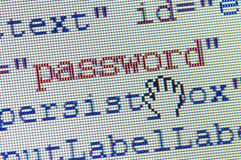 Password. Field in a html form  on lcd background Stock Images