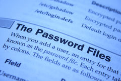 Password file Royalty Free Stock Photo