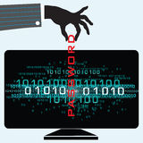 Password Hacker. Illustration of a person being a password hacker Royalty Free Stock Images