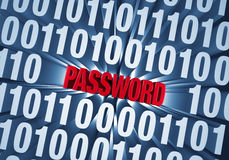 Password Hidden in Computer Code. Red PASSWORD is revealed in a background of computer code Royalty Free Stock Photos