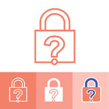 Password Hint Icon with Question Mark. Icon for those who have forgotten their passwords Stock Images