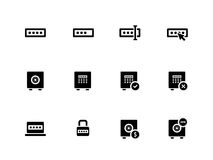 Password icons on white background. Stock Photo
