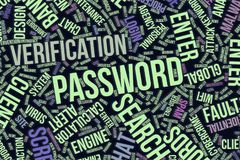 Password, conceptual word cloud for business, information technology or IT. Password, IT, information technology conceptual word cloud for for design wallpaper Stock Photography