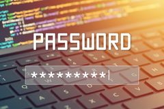 Password input on blurred background screen. Password protection against hackers.  Royalty Free Stock Photography