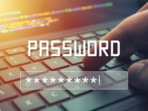 Password input on blurred background screen. Password protection against hackers.  royalty free stock images