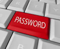 Password Key Red Button Computer Keyboard Security Stock Photography