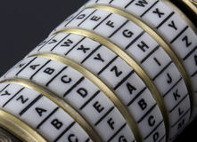 Password or keyword - combination puzzle box. A combination puzzle box that uses letters as the secret password, also known as a Cryptex, similar to the keystone Stock Images