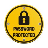 Password protected - circle signs. Password protected suitable for security signs Stock Photo
